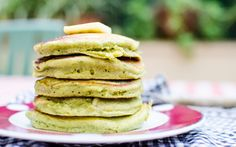 These bright green pancakes happened while I was in Nice, and hadn't figured out how to turn on the oven yet. Of course, being far from home and lonely, I also had a huge sugar craving. What's a sw...