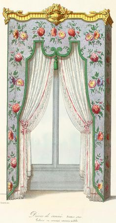 lambrequin to the floor Small Curtains, Curtains And Draperies, Drapery, Bedroom Curtains, Valances, Victorian Curtains, Victorian Windows, Victorian Interiors, Victorian Homes