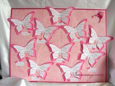 plan de table papillon fushia