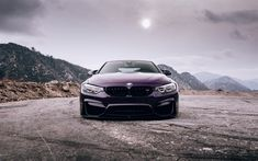Download wallpapers BMW M4, F82, 2018, Purple M4, front view, tuning M4, sports cars, German cars, BMW