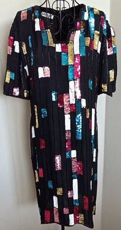 Linzas Sequin Beaded Dress Silk Geometric Sparkle Fully Lined Below Knee Size L #LinzasofCalifornia