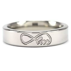 Beautifully milled Titanium 5mm band with an Infinity symbol wrapped around Love, sold on Renaissance Fine Jewelry.