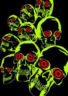 Skull print by Darkus Markus. Arte Grunge, Arte Punk, Psy Art, Photo Wall Collage, Skull Print, Skull And Bones, Psychedelic Art, Mellow Yellow, Aesthetic Art