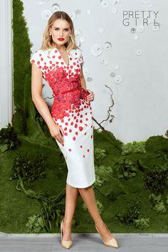 White dress with red petals print- Pretty Girl Summer Events, Pretty Girls, Girl Fashion, White Dress, Vintage, Dresses, Style, Women's Work Fashion, Vestidos