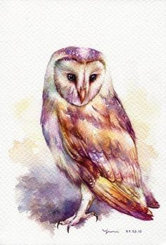 PRINT – The Owl Watercolor painting x The artwork print reproduction of my Original Watercolor painting. Printed area: x 11 Paper Modern Canvas Art, Contemporary Abstract Art, Popular Art, Arte Popular, Owl Watercolor, Watercolor Paintings, Watercolor Tattoo, Alphonse Mucha Art, Motifs Animal