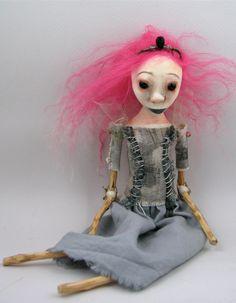 contemporary folk art doll cloth clay hand sewn jointed limbs pink hair