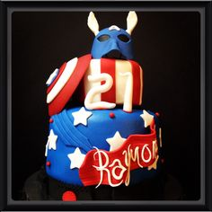 Captain America Cake.. Chocolate with raspberry filling.. Avengers!!!