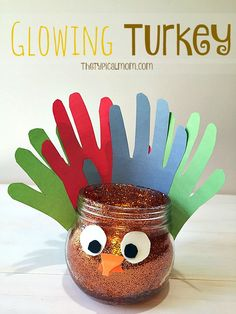 Easy and FUN glowing Turkey craft for kids. Inexpensive to make this Thanksgiving or make in the classroom using items from the dollar store.