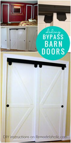 how to make bypass closet doors into sliding faux barn doors