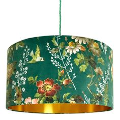 Floral Forest Green Velvet Lampshade with Gold Lining Gold Lamp Shades, Blue Lamp Shade, Light Shades, Gold Light Shade, Floral Lampshade, Lampshade Designs, Lampshade Ideas, Free Fabric Samples, Free Fabric Swatches