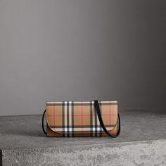 ae72766d51f3 Portefeuille en cuir à motif Vintage check avec sangle amovible (Noir) -  Femme   Burberry