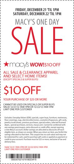 $10 off $25 til 1pm Saturday at Macys coupon via The Coupons App
