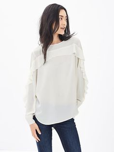 Beautiful and wear with anything! Ruffle-Front Blouse
