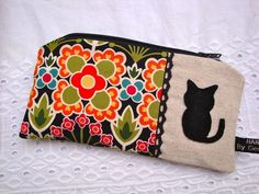 Cotton Pencil case - zipper pouch - black cat- lace trim . £7.90