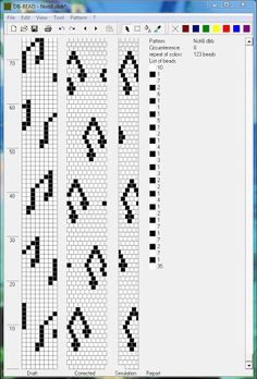 Musical note tubular bead crochet diagram.