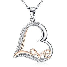 Gold-Tone-Love-Heart-925-Sterling-Silver-Pendant-Necklace-Chain-Valentine-Jewelr