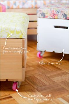 """""""DIY toy boxes with casters and cushioned seat"""". I am thinking of this type of thing for under the bed storage (only less tall for clearance)."""