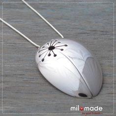 Milomade Antique Silverware Pendant - Dandelion - A pendant made from an antique silver spoon.