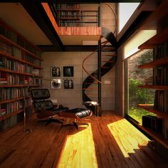 The Perfect Home Library - books all over, wooden flooring, lots of natural light.