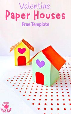 This adorable PAPER HOUSE CRAFT is super cute as a Valentine's Day craft, fairy house craft or simply for fun at any time of the year! These paper houses are really easy to make with the free printable template. Rainy Day Crafts, Valentine's Day Crafts For Kids, Valentine Crafts For Kids, Printable Crafts, Free Printable, Fairy House Crafts, Craft House, Happy Valentines Day Card, D House