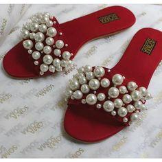 Pearl Sandals Wedding Sandals Beach wedding shoes red by ShopSoma Pearl Sandals, Red Sandals, Beach Wedding Sandals, Fashion Slippers, Stylish Sunglasses, Sandals For Sale, Handmade Shop, Girls Shoes, Random Items