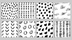 Set of black and white seamless patterns with marker and ink in minimalist scandinavian style Premium Vector Geometric Background, Background Patterns, Striped Background, Vector Background, Rose Gold Texture, Floral Texture, Minimalist Scandinavian, Scandinavian Style, Line Patterns
