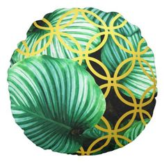 Leaves Geometric Tropical Modern Illustration Round Pillow - home gifts ideas decor special unique custom individual customized individualized
