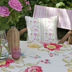 Clarke and Clarke - Romance Fabric Collection - Garden chairs with pink striped fabric and a cushion and tablecloth with country flower design Garden Seating, Garden Chairs, Garden Furniture, Furniture Decor, Clarke And Clarke Fabric, Garden Inspiration, Garden Ideas, Roman Blinds, Fabric Shades