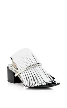 White Fringe Mules with Nickle Heels by Proenza Schouler Now Available on Moda Operandi