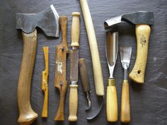 Tools used in making carved wooden bowls and spoons