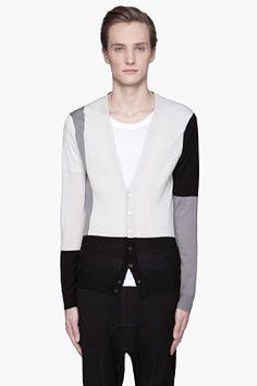 NEIL BARRETT Grey Slim Fit Tri-Color merino wool Cardigan