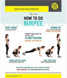 Ingin latihan yang melatih seluruh tubuh juga membakar kalori dan tak membutuhkan alat apapun? Yuk, coba lakukan Burpee! Lihat gambar berikut untuk #GoldsTips cara melakukannya!