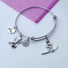 Music Lover Charm Bracelet Personalized with instrument choice of stainless steel expandable bangle