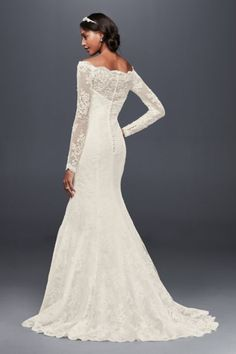 Off-The-Shoulder Scalloped Lace Mermaid Dress WG3840