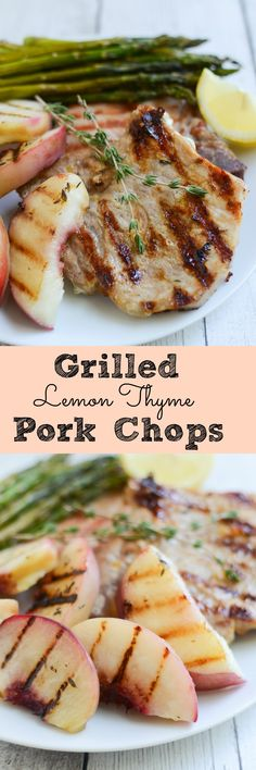 Grilled Lemon Thyme Pork Chops with Peaches - delicious and easy way to cook pork chops! Ready in 20 minutes! Pork Chop Recipes, Grilling Recipes, Cooking Recipes, Grilling Ideas, Peach Pork Chops, Best Pork Recipe, Pork Dishes, Fabulous Foods, International Recipes