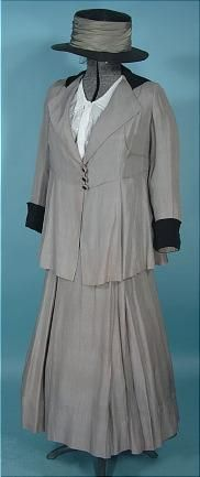 """Suffragette"" Suit with Embroidered Blouse and Hat: ca. 1915, silk summer walking suit with black trim."