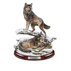 Hand-cast sculpture showcases a wolf family in their wintry den, hand-painted lifelike detail. Wood-look base, silvery name plaque. Wolf Sculpture, Animal Sculptures, Animal Statues, Wolf Den, Wolf Stuff, Howl At The Moon, Bradford Exchange, Beautiful Wolves, Pet Birds