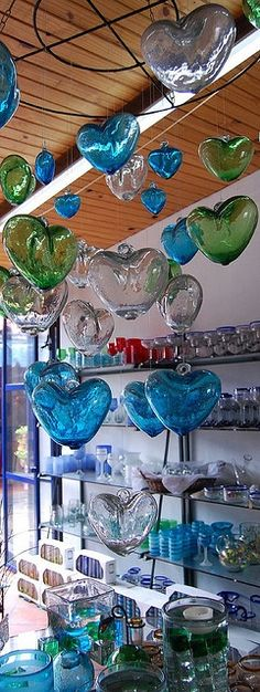 Hand Blown Glass Hearts