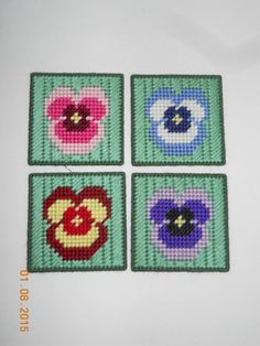 Pansy Coasters in Plastic canvas by SpyderCrafts on Etsy