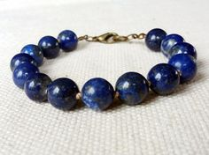 Lapis Lazuli Hand Knotted Bracelet Blue Beaded by CITBhandmade