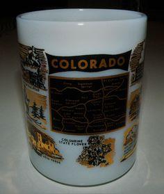 Beautiful Vintage MC Black Gold Colorado Souvenir Federal Milk Glass Mug Cup #Federal