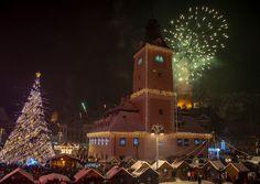 Fireworks over Piata Sfatului, Brasov, Romania, New Years Eve (by Andrei Soimu) City Architecture, Oclock, Empire State Building, Fine Art Photography, Brasov Romania, Fireworks, Places, Eve, Travel