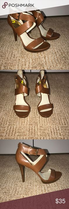"Michael Kors Strappy Heels Michael Kors strappy cognac heels. size 9 never worn brand new condition. features gold buckle on side. approx 3.5"" heel. MICHAEL Michael Kors Shoes Heels"
