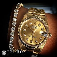 Beautiful & Rare 18K Gold #Presidential ♛ Rolex 31mm Midsize Ladies DateJust featuring a Diamond Dial matched with a Gorgeous 7 ctw Round Cut Diamond Gold Tennis Bracelet. Keep it classy & simple!
