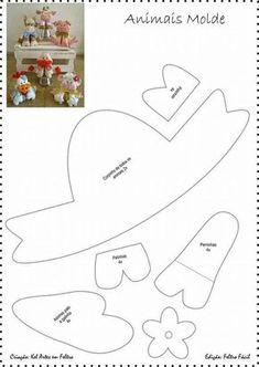 Animais Fazendinha Moldes 1 Felt Animal Patterns, Felt Crafts Patterns, Stuffed Animal Patterns, Fabric Animals, Felt Animals, Felt Board Templates, Cow Craft, Sewing Stuffed Animals, Foam Crafts