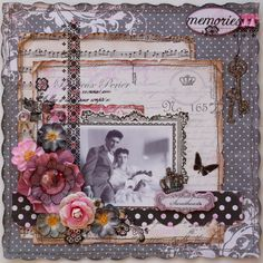 Sweethearts ~ Beautifully embellished heritage wedding page with an interesting layered background and machine stitched edging.