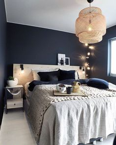 Glam Bedroom, Bedroom Office, Bedroom Decor, Plywood Headboard, Blue Rooms, New Homes, Interior Design, House, Furniture