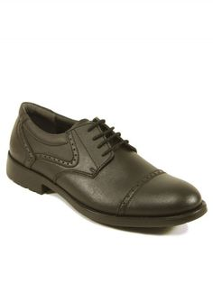 Vegan Vegetarian Non-Leather Mens Smart Black Shoes Oxford Quarter brogue