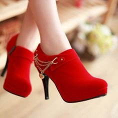 Shop Elegant Red Stiletto Heels Ankle Boots on sale at Tidestore with trendy design and good price. Come and find more fashion Ankle Boots here. Red Stiletto Heels, Red Stilettos, Red High Heels, High Heel Boots, Heeled Boots, Shoe Boots, Ankle Boots, Ankle Heels, Black Pumps