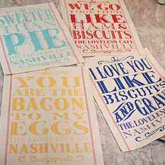 We've enhanced our set of sentimental favorites with fresh colors on a softer, more durable, cotton kitchen towel. Set of 4 includes I Love You Like Biscuits and Gravy in Blue